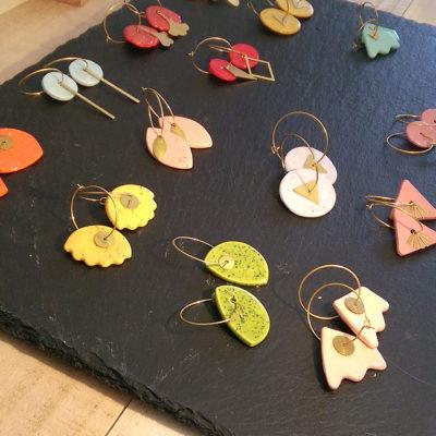 boucles d'oreilles en ceramique