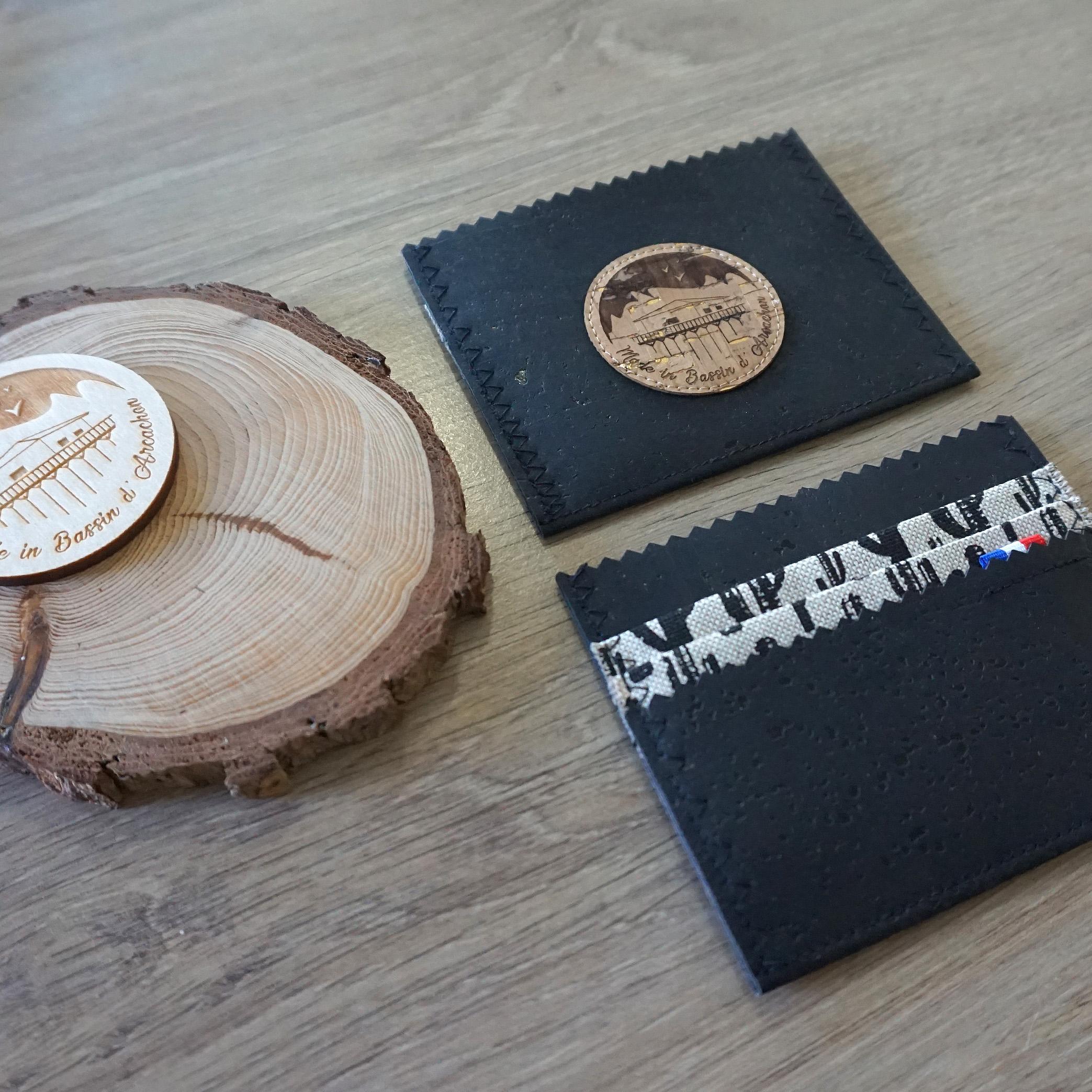 porte cartes cuir vegan noir