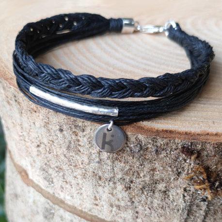 Bracelets Kuünu, pour homme, sobre et élégant, en fibre de lin et argent