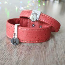 Bracelets Kuünu liège rouge